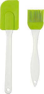 Silikonová kuchyňská sada, stěrka a mašlovačka, světle zelená