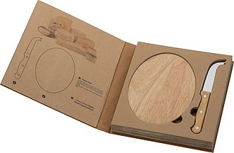 FINESTRA Sada dřevěného prkénka a nerezového nože na sýr