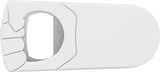 Plastový otvírák s uzávěrem, bílá