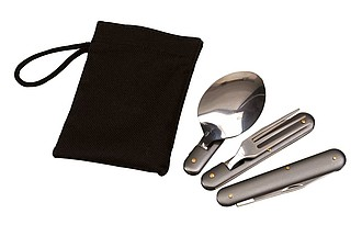 sada skládacího příboru v sáčku,nůž,vidlička,lžička,otvíráky