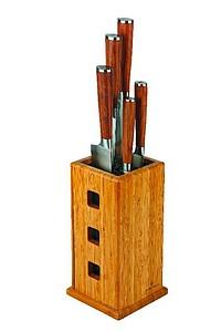 VS SENDAI Souprava pěti nožů ve stojanu, ocel + dřevo