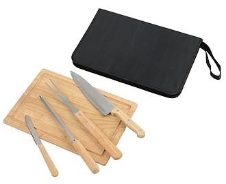 Grilovací sada nožů ze světlého dřeva s prkýnkem, středně hnědá