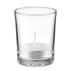 SILIA Vonná čajová svíčka ve svícnu ze skla, bílá