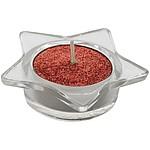 Svícen ve tvaru hvězdy s červenou čajovou svíčkou
