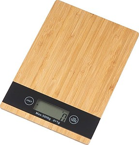Kuchyňská váha z bambusu s černým displejem,béžová