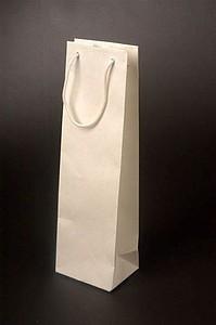 VINIE Papírová taška na láhev vína 12x39x9 cm, bílá papírová taška s potiskem