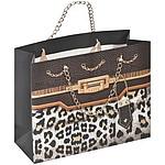 Papírová taška s leopardím vzorek a řetízkem