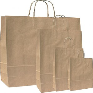 MONKA 18 Hnědá papírová taška 18x8x25 cm, kroucená držadla papírová taška s potiskem