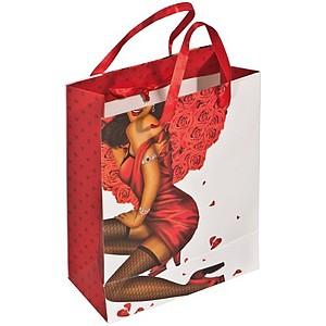 Papírová taška s dámským vzorem