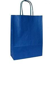 ANKA 18 Modrá papírová taška 18x8x25 cm, kroucená držadla papírová taška s potiskem