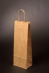 DUNEO Papírová taška na víno 15x8x40 cm, hnědá