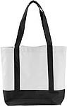 MILADA Nákupní taška, dlouhé rukojeti, bílá, černé rukojeti