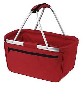 BERNARD Skládací nákupní košík s kapsou na zip, červená