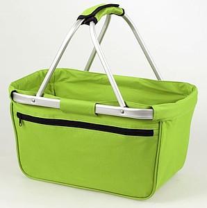 BERNARD Skládací nákupní košík s kapsou na zip, světle zelená papírová taška s potiskem