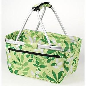 BERNARD Skládací nákupní košík s kapsou na zip, zelená, vzor listy
