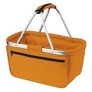 BERNARD Skládací nákupní košík s kapsou na zip, oranžová