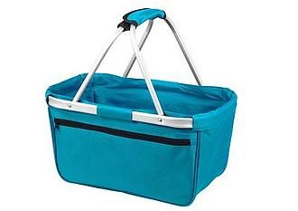 BERNARD Skládací nákupní košík s kapsou na zip, tyrkysová
