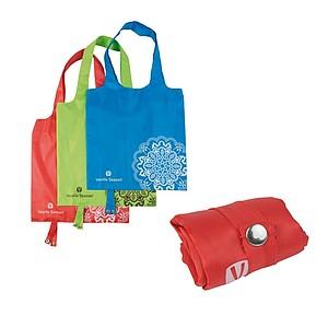 VS BATNA skládací nákupní taška, polyester, červená papírová taška s potiskem