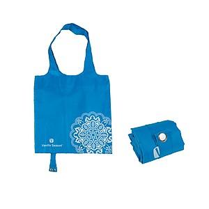 VS BATNA skládací nákup. taška, polyester, modrá papírová taška s potiskem