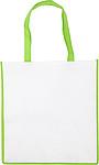 Nákupní taška z netkané textilie, bílá se zeleným lemem