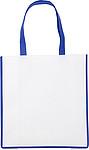 Nákupní taška z netkané textilie, bílá s tm.modrým lemem