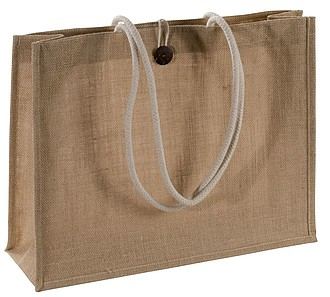 Extra velká juta-taška s robustní rukojetí, hnědá