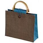 BULAPA Ekologická juta-taška s držadly z bambusu, světle modrá