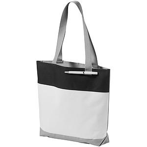 Nákupní taška z polyesteru s poutkem na propisku, bílá, černá