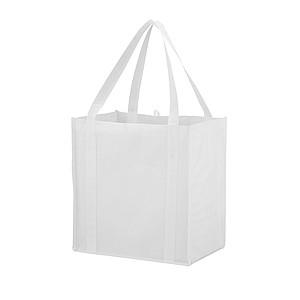 Nákupní taška se zpevněným dnem z netkané textilie, bílá