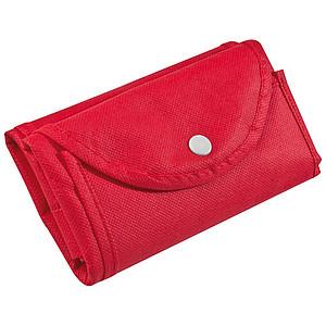 Skládací nákupní taška z netkané textilie, červená
