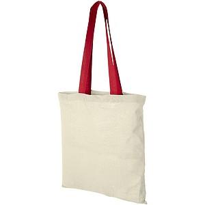 Bavlněná nákupní taška s barevnými uchy, přírodní/červená