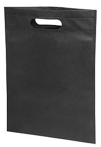 Malá nákupní taška s vyříznutými uchy, netkaná textilie, černá
