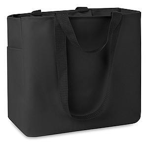 Nákupní taška s louhými i krátkými držadly, černá