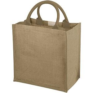 Jutová nákupní taška s bavlněnými uchy, přírodní