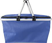 OXFORD COOLER Skládací termokošík ze tkaného materiálu typu Oxford, modrá papírová taška s potiskem