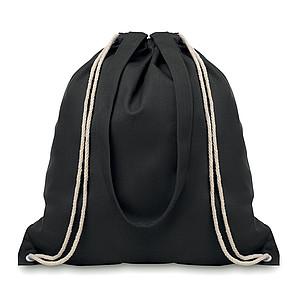 Plátěná nákupní taška s dlouhými uchy, černá