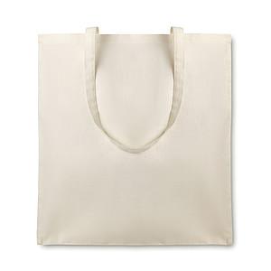 Nákupní taška z organické bavlny s dlouhými uchy, 105 gr/m2, béžový
