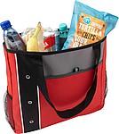 Prostorná nákupní taška s dlouhými uchy, černo červená
