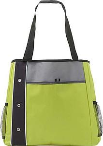 Prostorná nákupní taška s dlouhými uchy, černo zelená