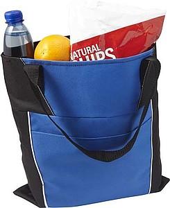 Nákupní taška s přední kapsou a dlouhými uchy, modrá