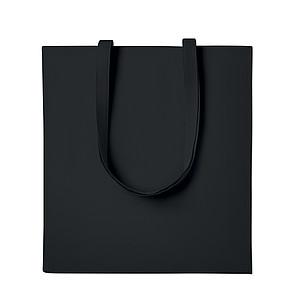 Nákupní taška z keprové bavlny s dlouhými uchy a vsadkou, černá