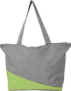 Nákupní taška na zip, šedo zelená