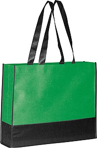 Nákupní taška z netk.textilie s černým dnem a uchy, zelená