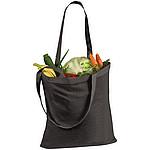 Bavlněná nákupní taška s dlouhými uchy, černá