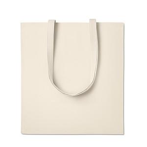 Nákupní taška z keprové bavlny s dlouhými uchy a vsadkou, béžový