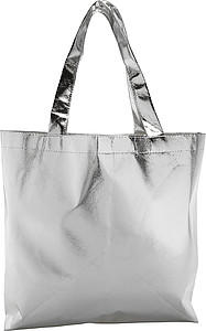 Stříbrná laminovaná nákupní taška