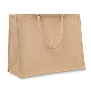 Laminovaná nákupní taška z juty s krátkými uchy, béžový