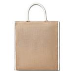Nákupní taška z juty a bavlny s lemováním, krátká ucha, béžový