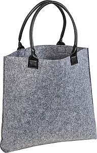 Plstěná nákupní taška s černými uchy z koženky