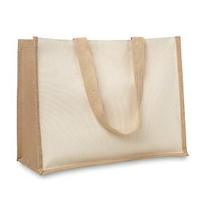 Nákupní taška z juty, z přední strany plátno a bavlněná tkanina, dlouhá ucha, béžový